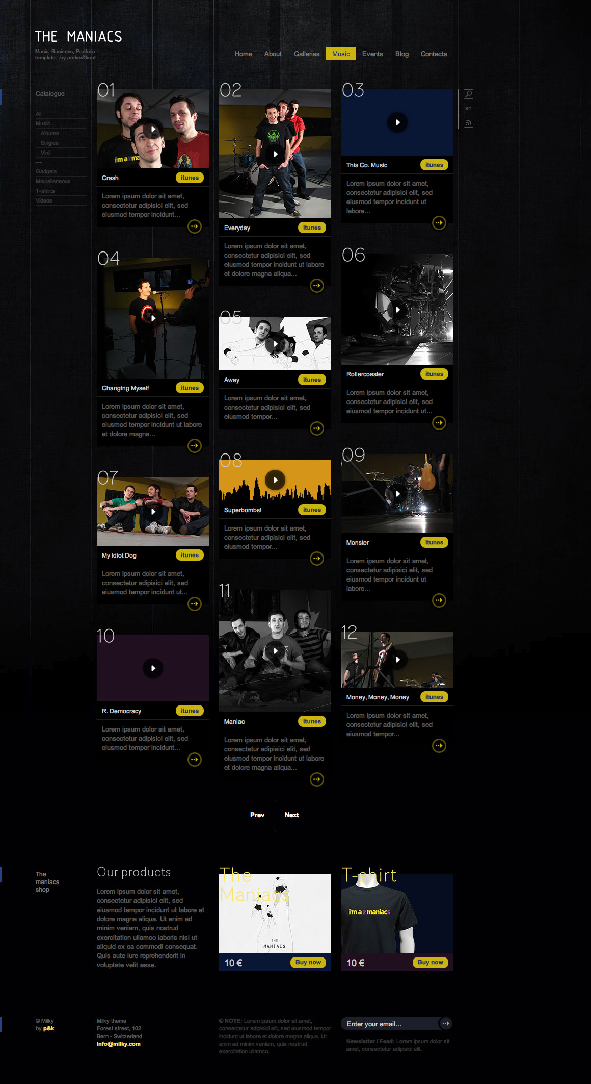 XHTML/CSS Milky Template - Music/Showcase/Business