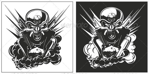 Bw Skull With Engine Set Available Ai  And Eps  Formats