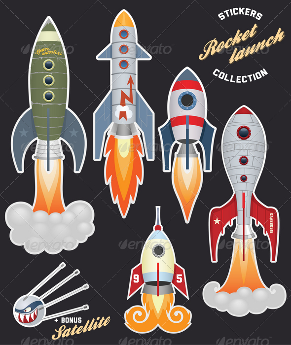 GraphicRiver Rocket launch stickers collection 2451735