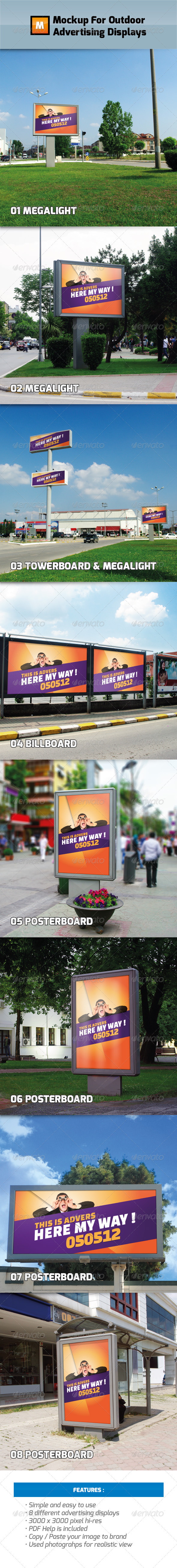 GraphicRiver Mockup For Outdoor Advertising Displays 2458879