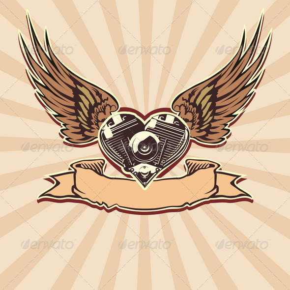 GraphicRiver Winged Motorbike Symbol 2459005
