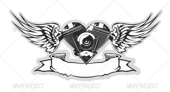 GraphicRiver Winged Motorbike Symbol 2459090