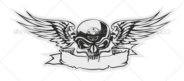 Vector Skull with Wings at Gray Basis - Tattoos Vectors