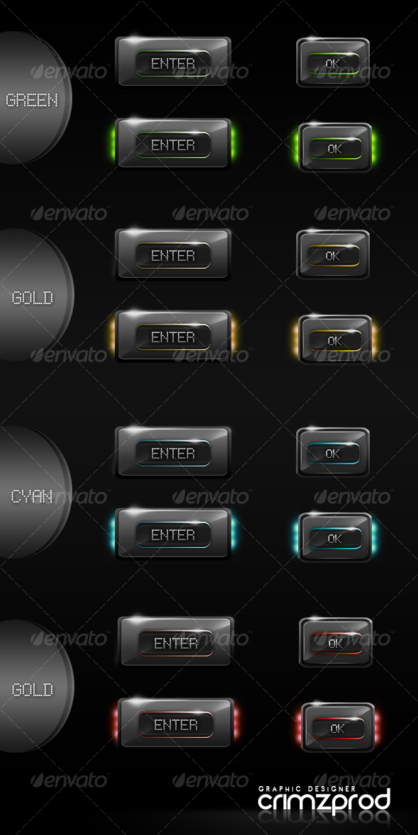 8 Glossy Hi-Tech Buttons