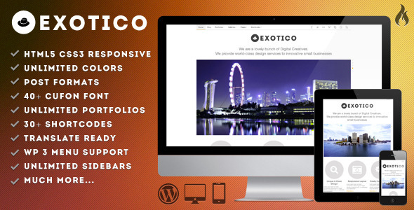 Exotico - Responsive WordPress Theme (1200p) - Portfolio Creative