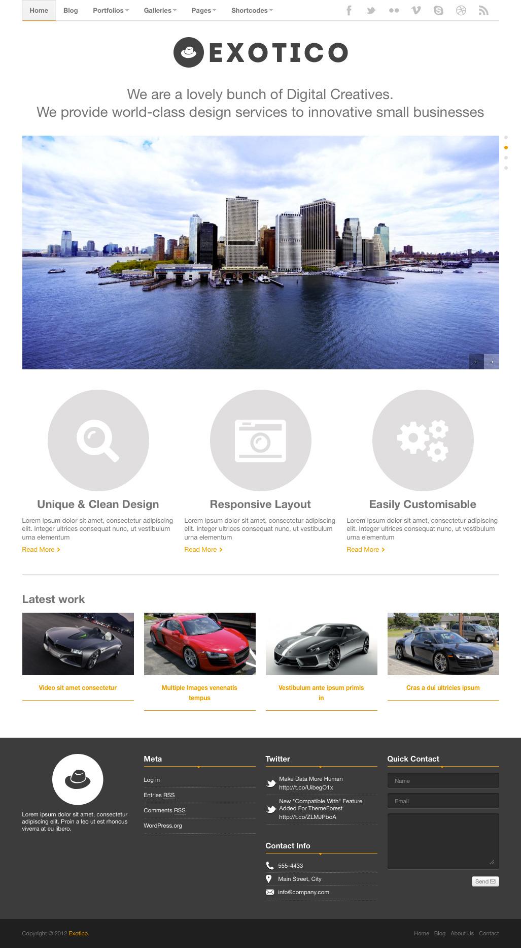 Exotico - Responsive WordPress Theme (1200p) - Portfolio Unlimited Color Elements, 30+ Shortcodes, iPhone, iPad, Portfolio and Slider Custom Post Types, AJAX Contact Form, Video Documentation, Sidebar Generator, Responsive, Video, Image