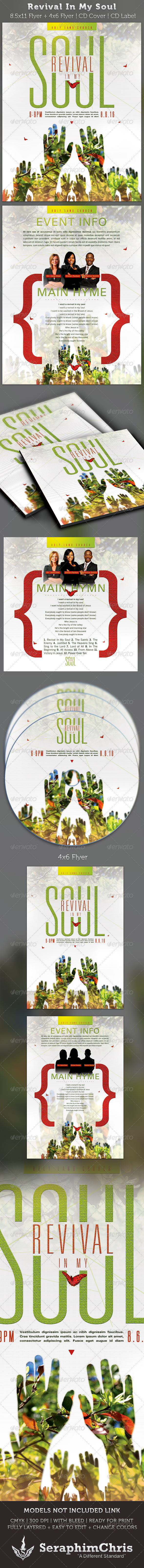 Revival In My Soul Flyer and CD Cover Template - Church Flyers
