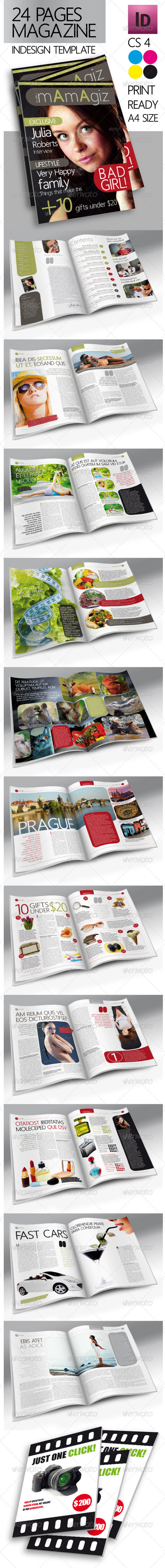 24 Pages Modern Magazine InDesign Template - Magazines Print Templates