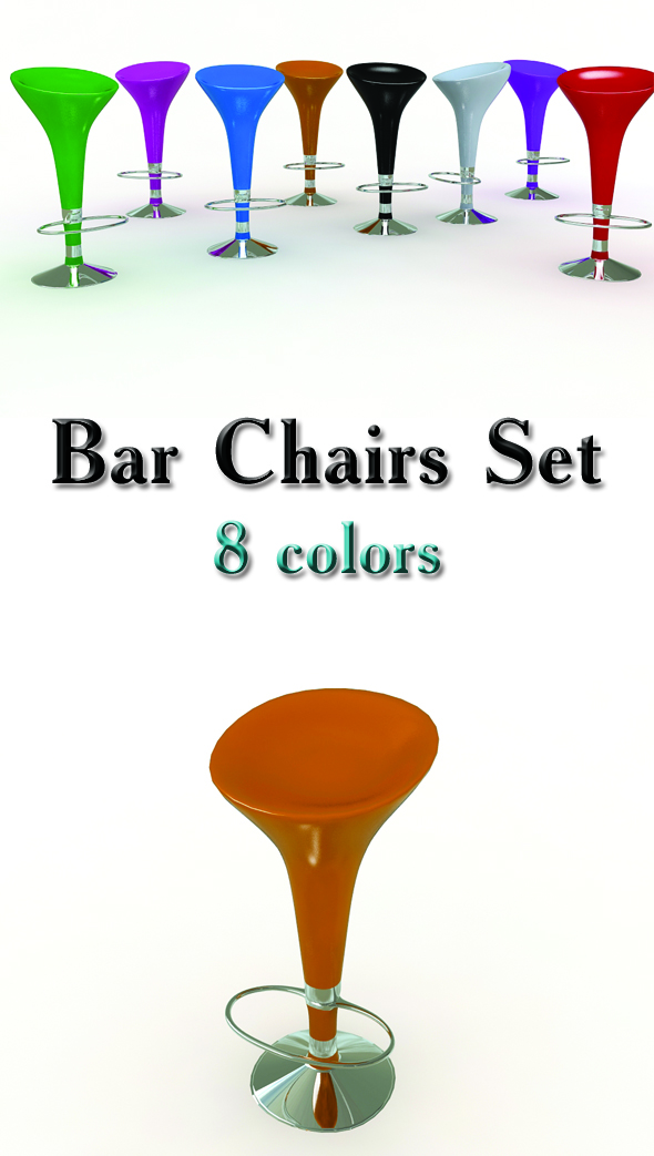 Bar Stools Set - 3DOcean Item for Sale