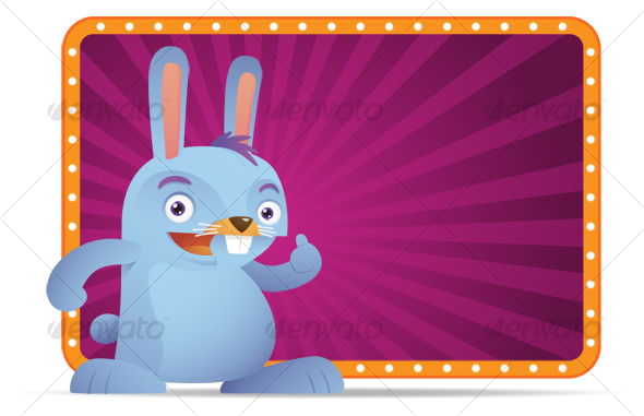 GraphicRiver Blue Rabbit with thumb up 90222