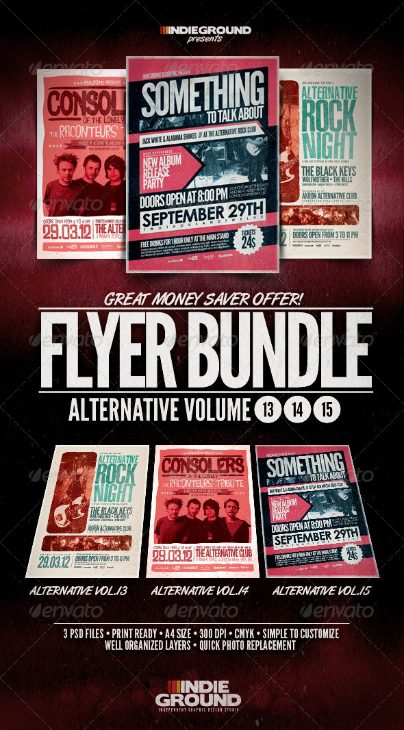 Alternative Flyer/Poster Bundle Vol. 13-15 - Clubs & Parties Events