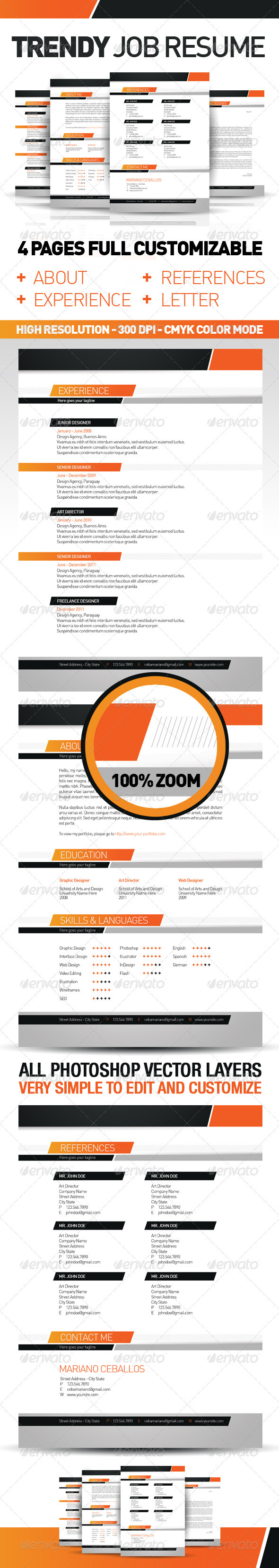 Trendy Job Resume Set - Resumes Stationery