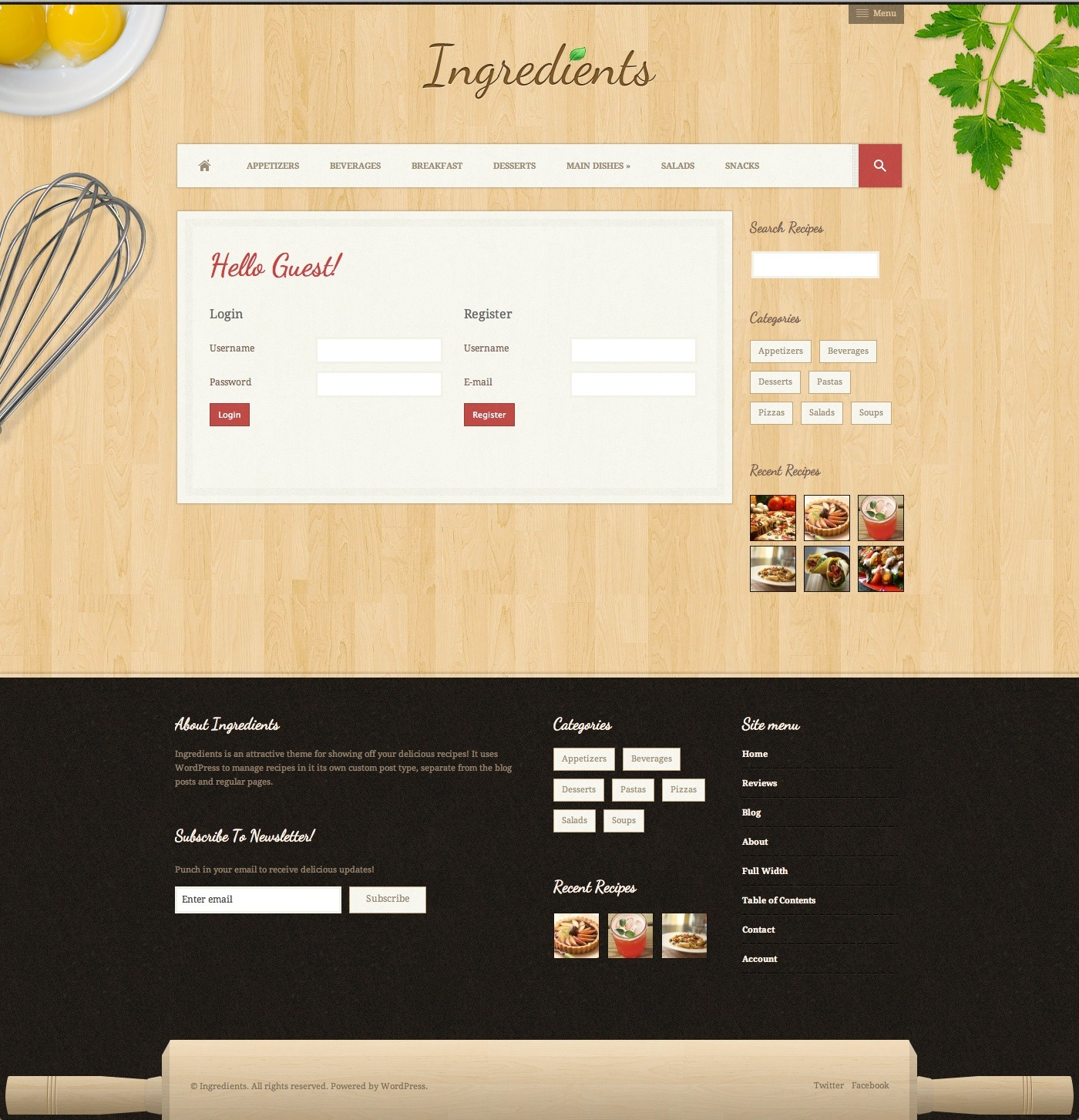 Ingredients a fresh recipe wordpress theme by divwrap for Fresh home login