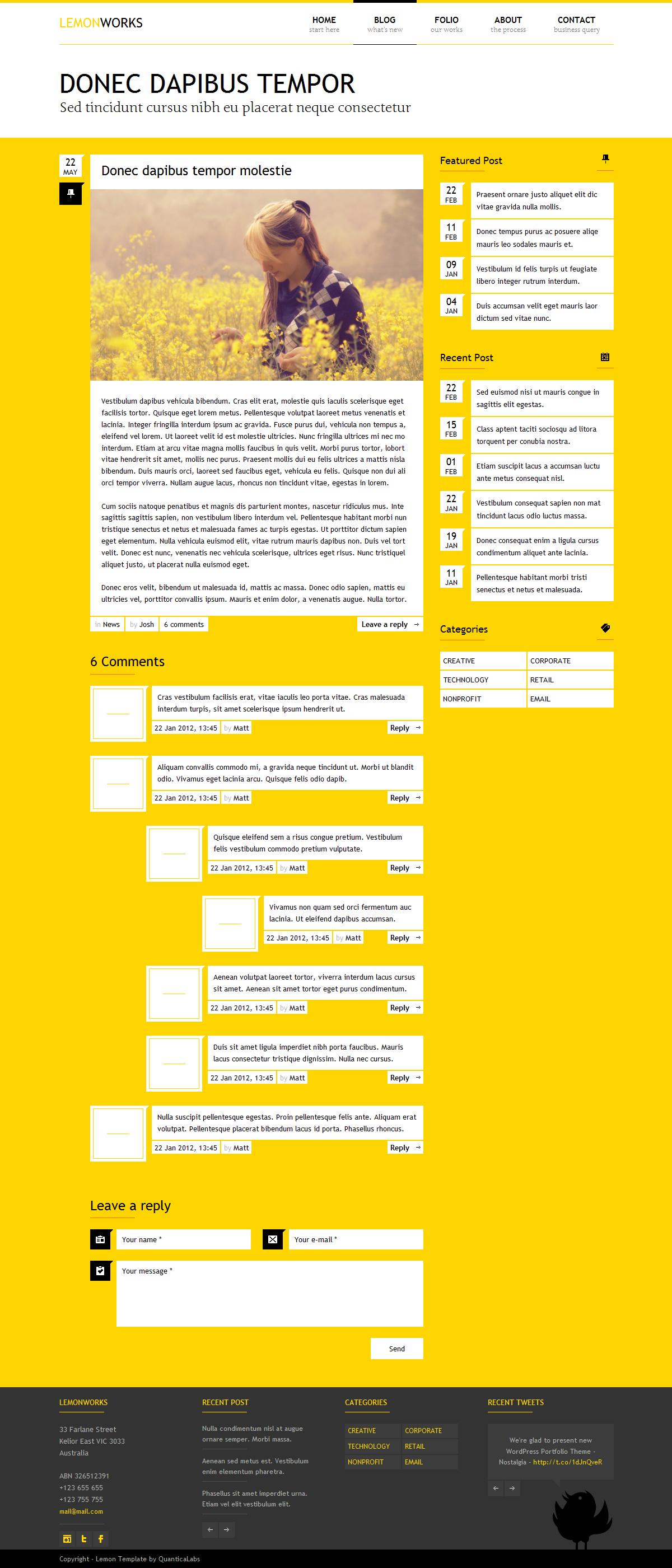 Lemon - Responsive Portfolio Template