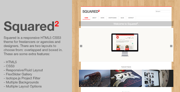Squared - Responsive HTML5 CSS3 Creative Template