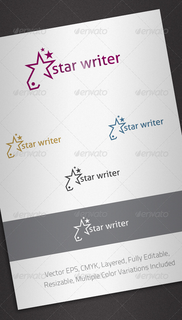 GraphicRiver Star Writer Logo Template 2465841