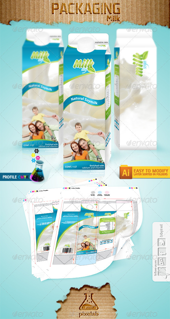 Packaging Milk - Packaging Print Templates