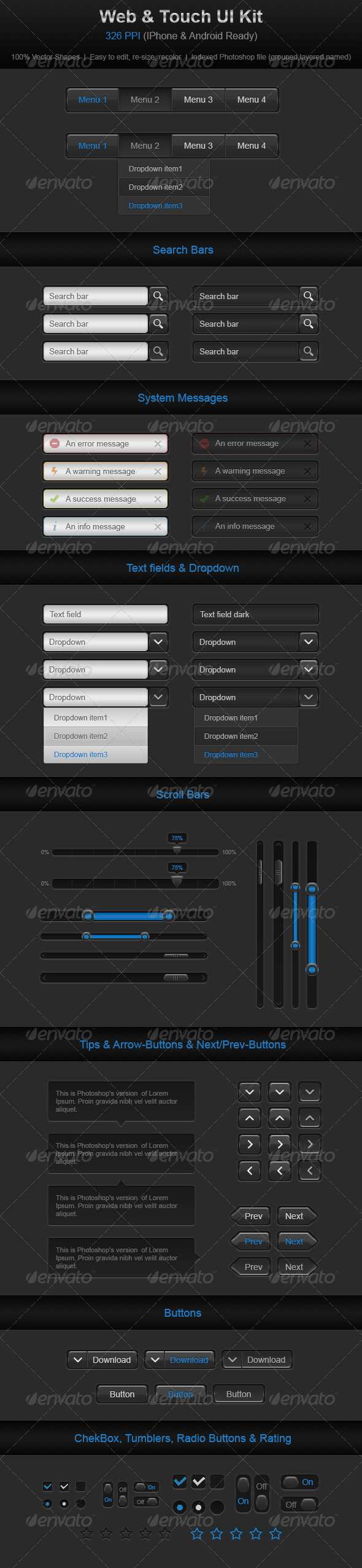 Web & Touch UI Kit - User Interfaces Web Elements