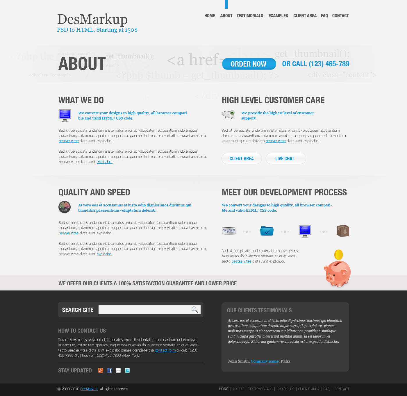 Developer PSD Template - About page
