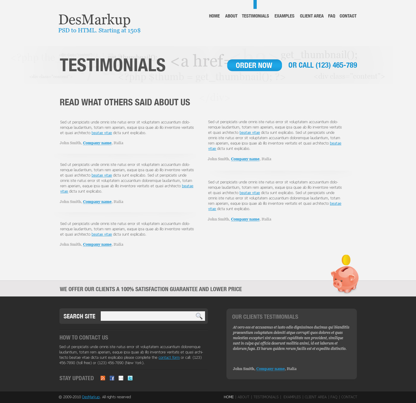 Developer PSD Template - Testimonials page