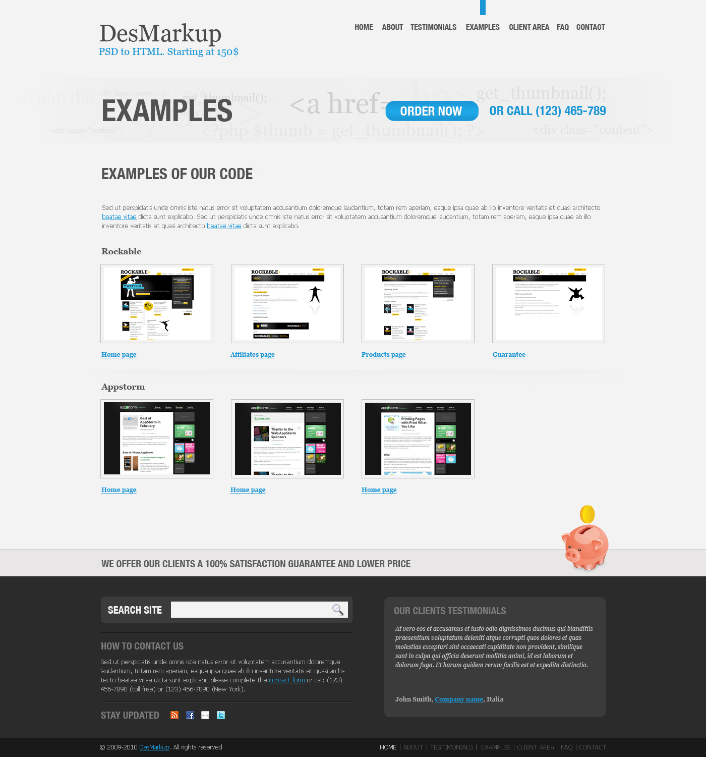 Developer PSD Template - Examples page
