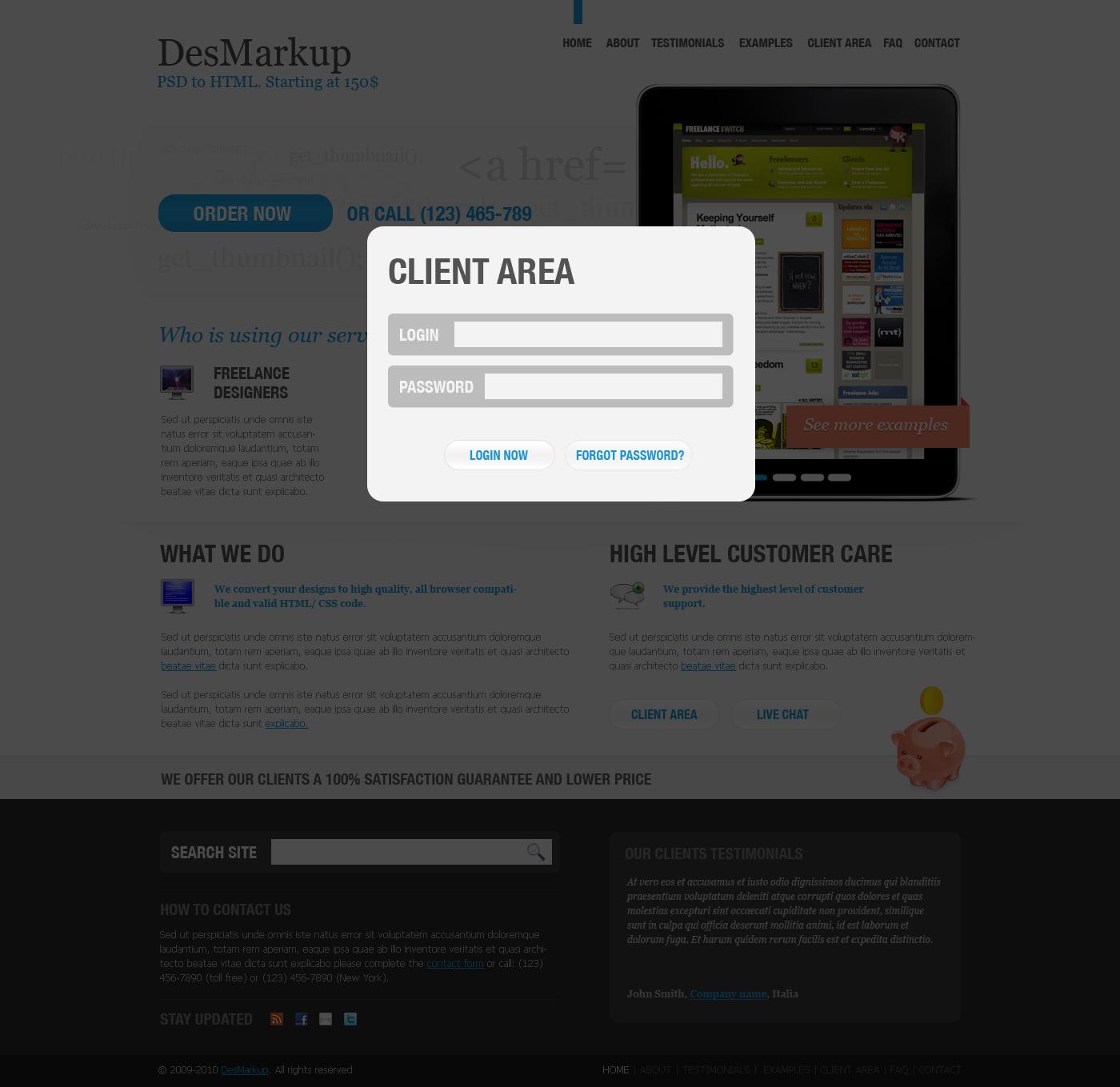 Developer PSD Template - Client area page