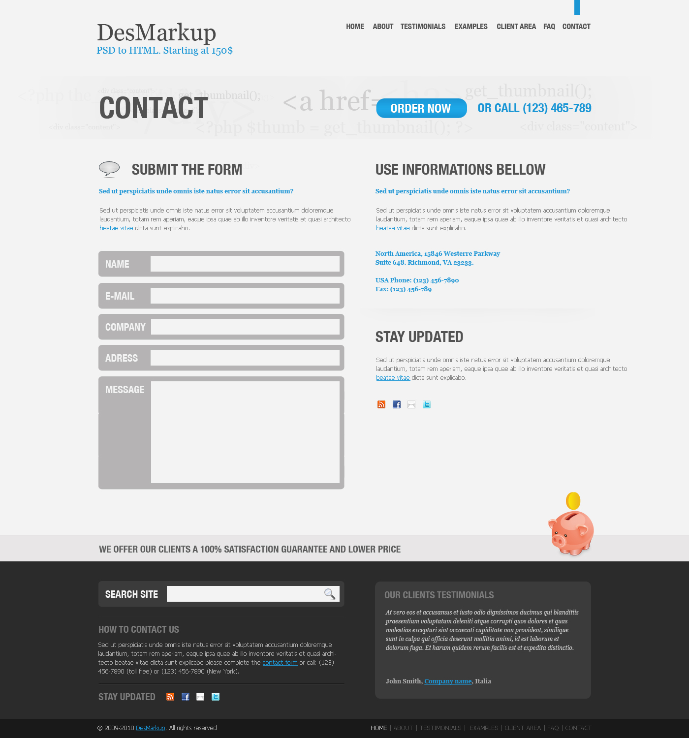 Developer PSD Template - Contact page
