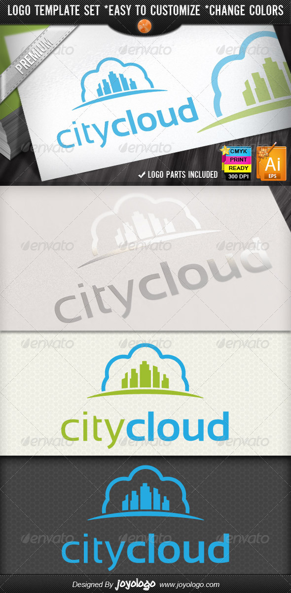 Modern Town Retro Sky Cloud City Logo Designs