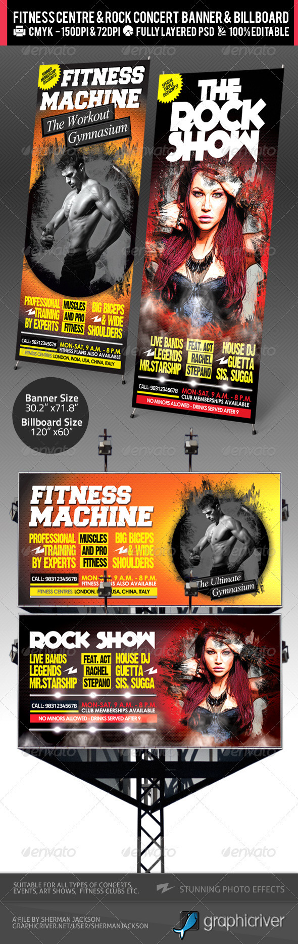 GraphicRiver Rock Concert & Fitness Club Billboard&Banner PSD 2419020