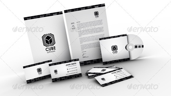 Cube Software Corporate ID Pack - Stationery Print Templates
