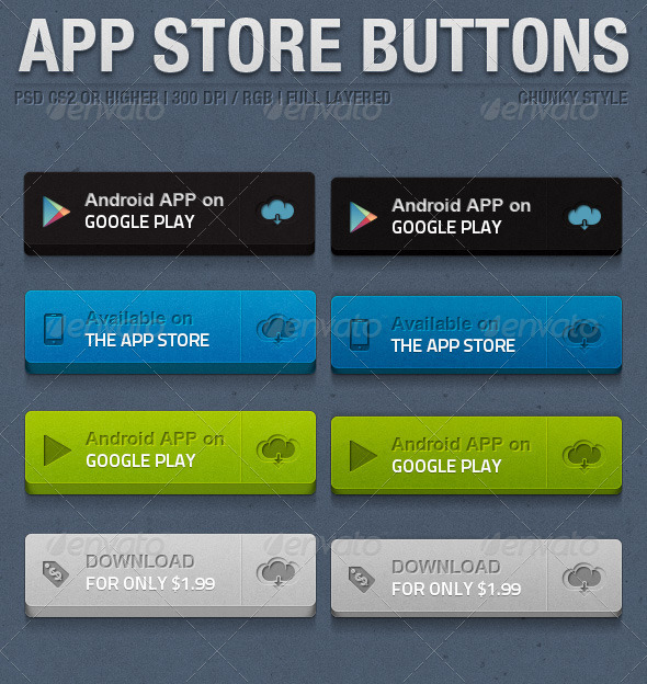 App Store Chunky Buttons - Buttons Web Elements