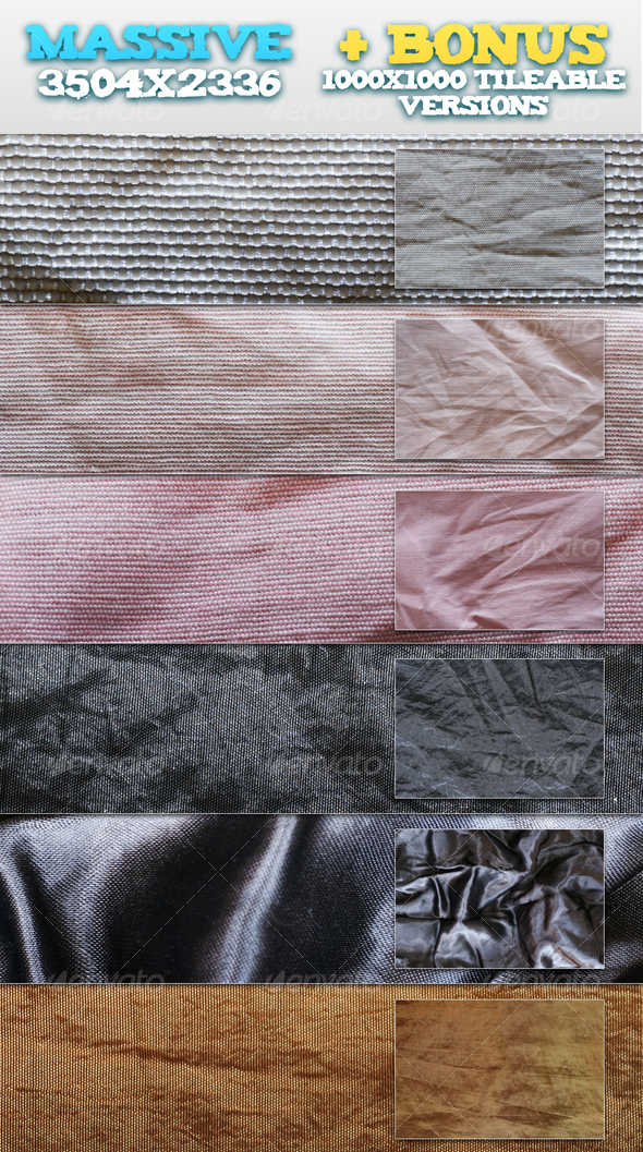 GraphicRiver 6 Wrinkled Fabrics & BONUS Tileable Versions 90568