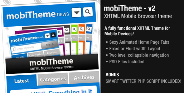 mobiTheme - XHTML Theme for Mobile Devices - mobiTheme features.