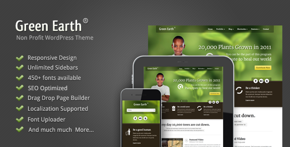 Green Earth - Environmental WordPress Theme - introduction