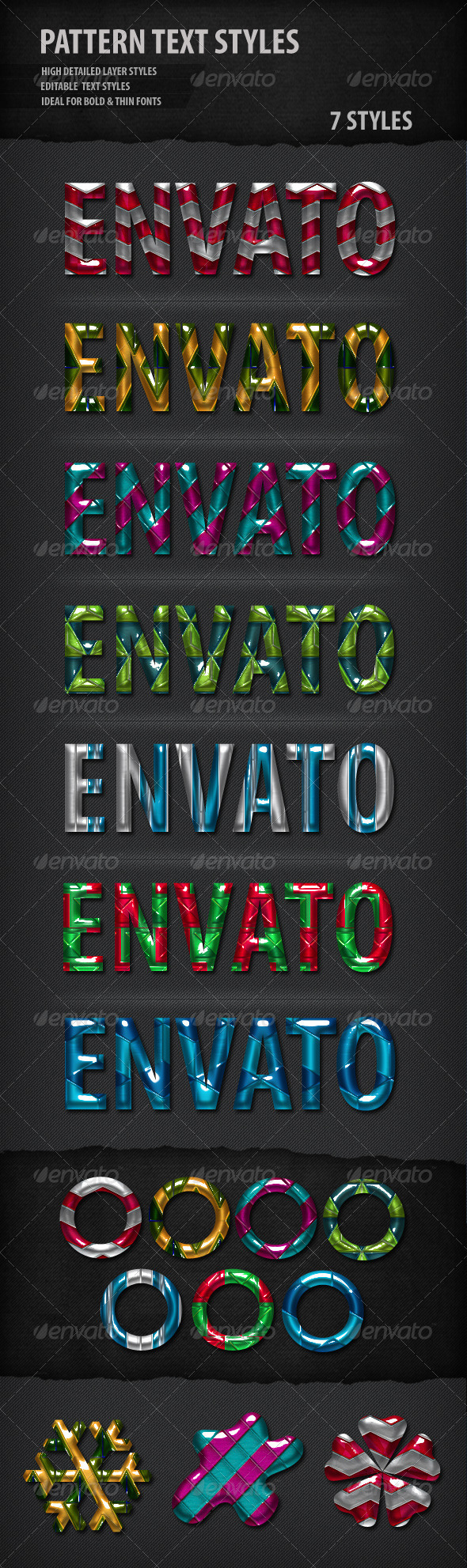 Pattern Text Styles - Text Effects Actions