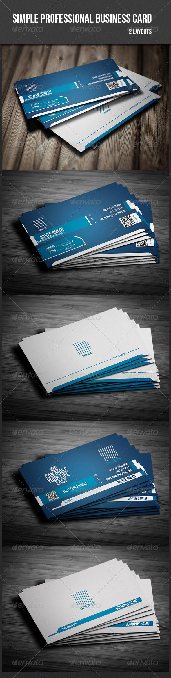 Simple Professional Business Card - Business Cards Print Templates