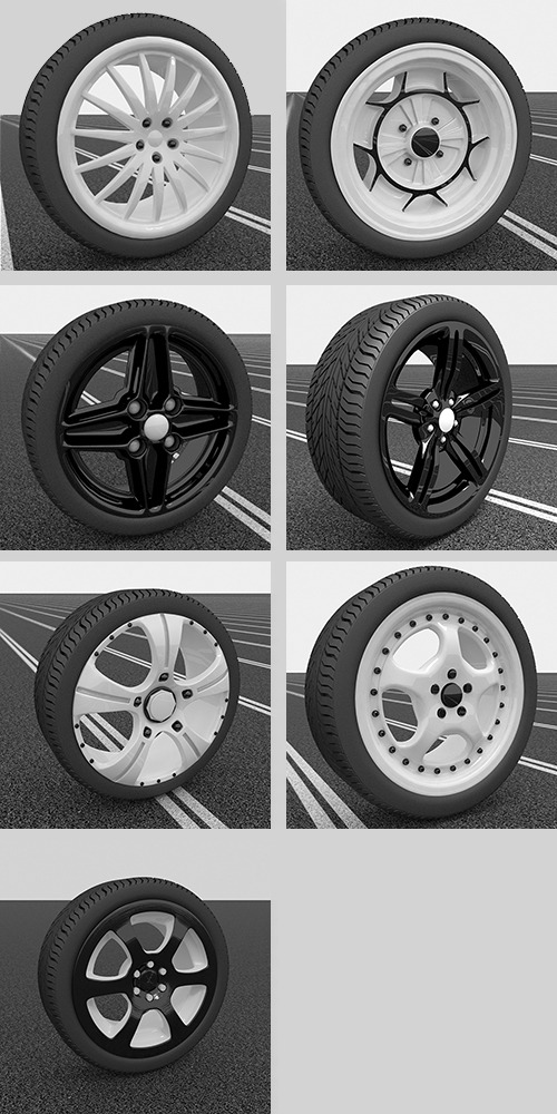 7 Wheels Set - 3DOcean Item for Sale