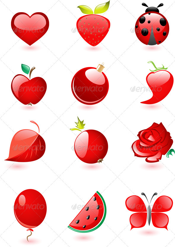 Collection of Glossy Red Icons - Miscellaneous Vectors