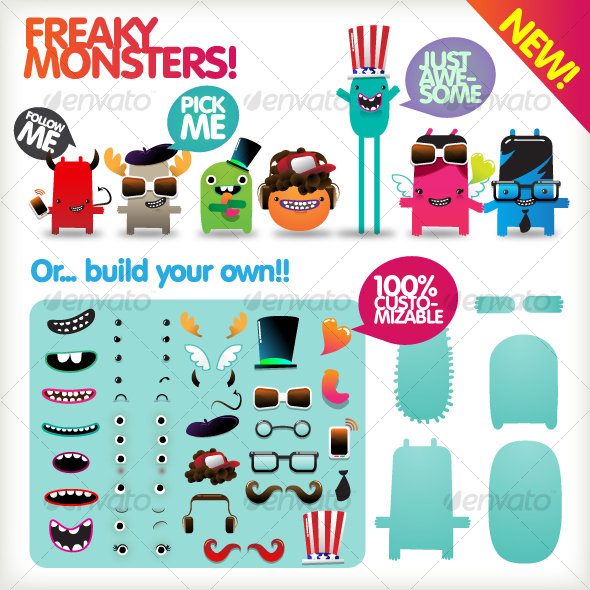 GraphicRiver Freaky Monsters 90719