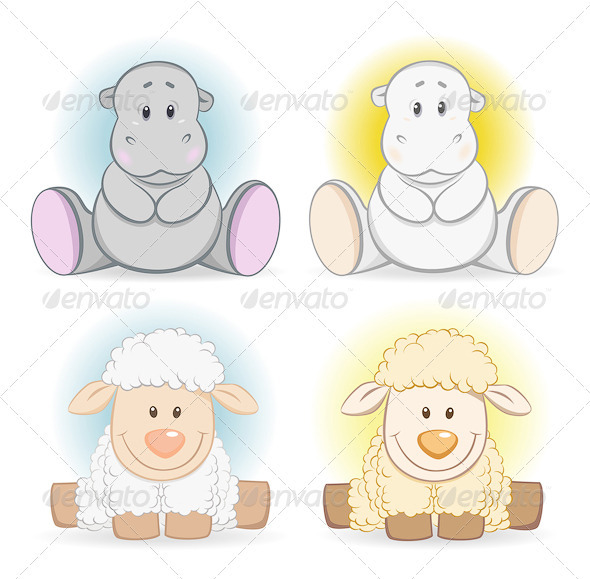 Cartoon Hippo And Sheep Baby Toy - Animals Characters
