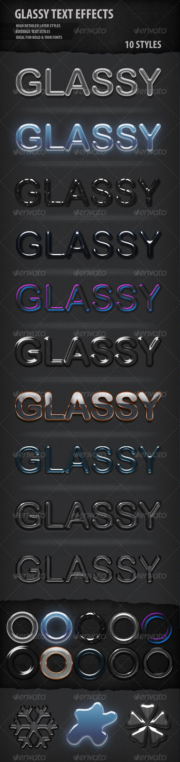 Glassy Text Styles - Text Effects Actions