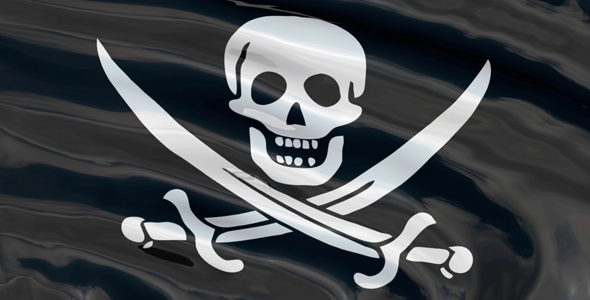 Seamless looping pirate flag with skull and swords
