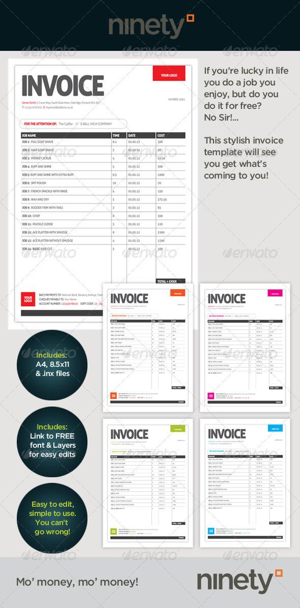 generic invoice template graphicriver. Black Bedroom Furniture Sets. Home Design Ideas