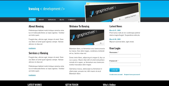 ThemeForest Kwuicq Drupal 6 Corporate Blue Theme 90822