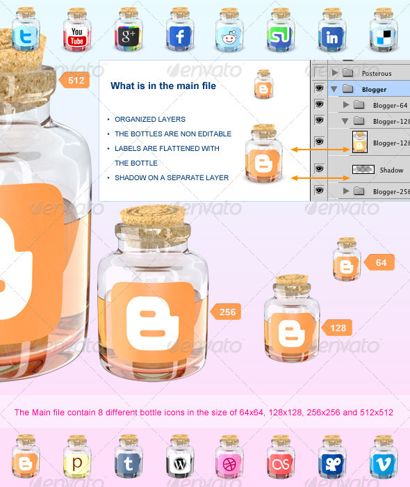 Bottle Social Media Icons - Web Icons