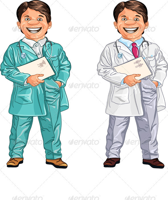 Happy Smiling Doctor and Veterinarian - People Characters