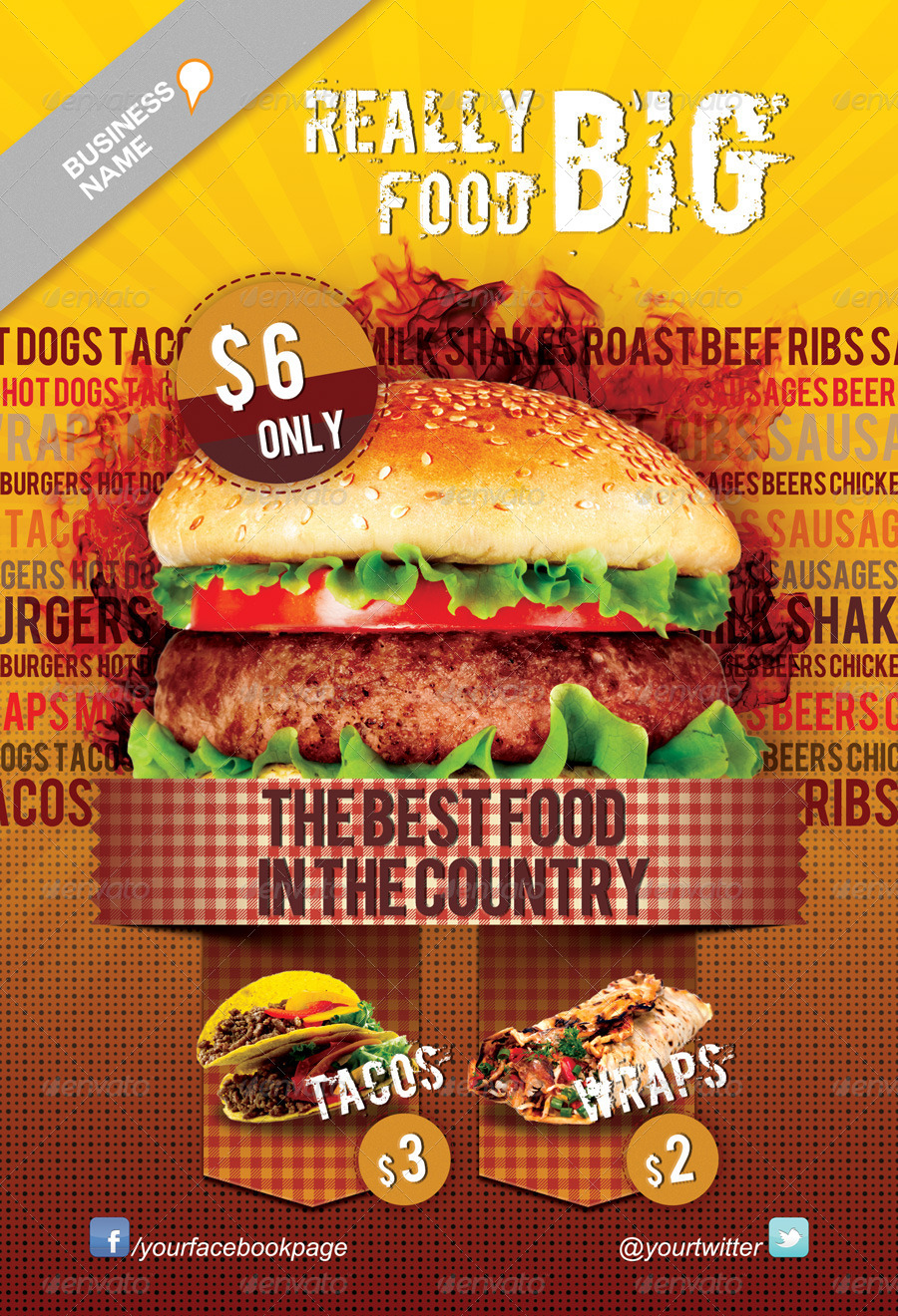 Fast Food Flyer Template by Juhrrex – Food Flyer Template