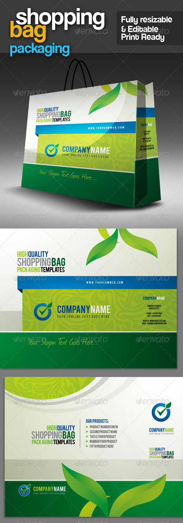 GA Shopping Bag Packaging v.2 - Packaging Print Templates