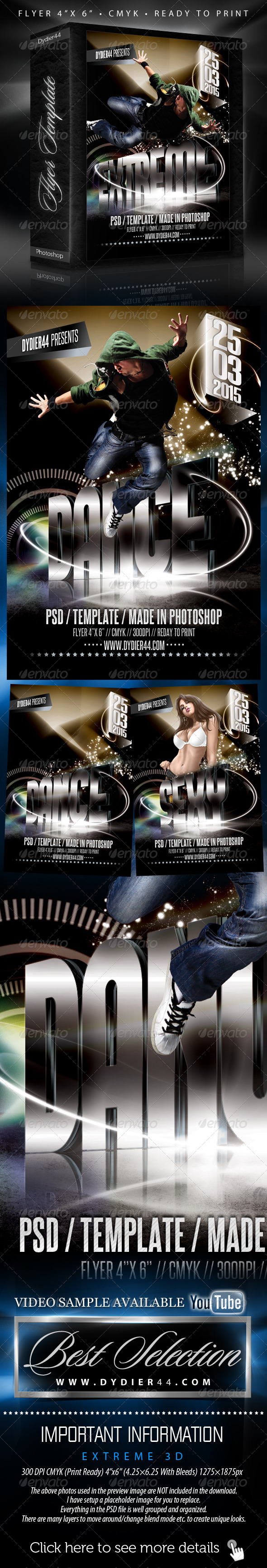 "Extreme 3D  (Flyer Template 4x6"") - Clubs & Parties Events"