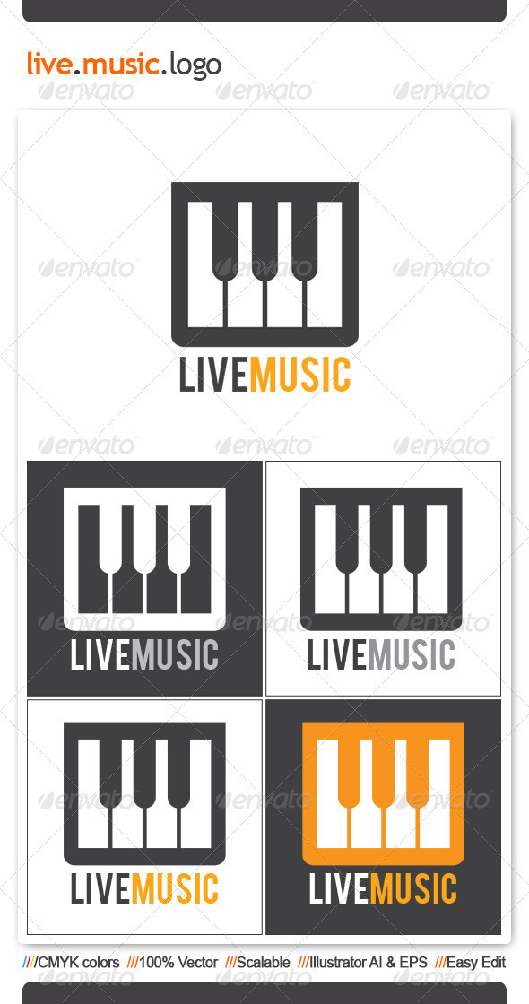 Live Music Logo Template - Vector Abstract